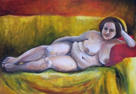 """Frau auf gelber Couch"""